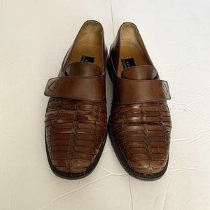 Avventura Brown Weaved Leather Loafers Dress Shoes